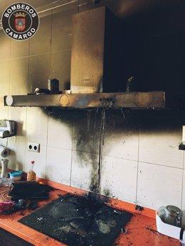 Incendio de una cocina del barrio El Carmen