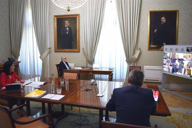 La ministra de Política Territorial y Función Pública, Carolina Darias, se reúne por videoconferencia con los delegados de Gobierno de las CCAA y Ceuta y Melilla