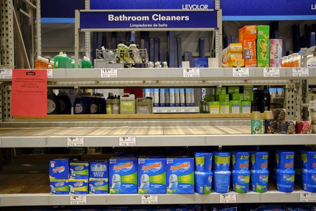 March 11, 2020 - Bloomington, Indiana, United States: Shelves where wipers are sold have been cleared by panic shoppers at Lowe's Home Improvement on the day World Health Organization declared Coronavirus to be a pandemic. Toilet paper, wipes, protective