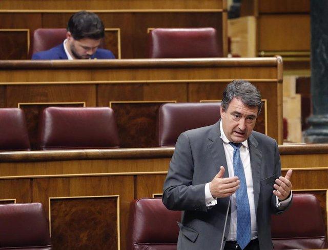 El portavoz del PNV en el Congreso de los Diputados, Aitor Esteban, interviene desde su escaño durante el pleno del Congreso este miércoles