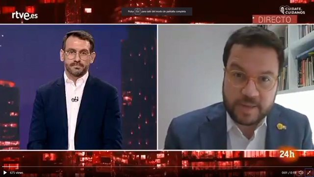 El vicepresident de la Generalitat, Pere Aragonès, entrevistat al Canal 24Hores de TVE