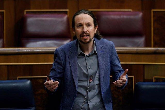 El vicepresident segon del Govern central, Pablo Iglesias, intervé durant el ple del Congrés que debat la cinquena pròrroga de l'estat d'alarma, Madrid (Espanya), 20 de maig del 2020.