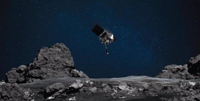 Ilustración del descenso de OSIRIS-REx sobre Bennu