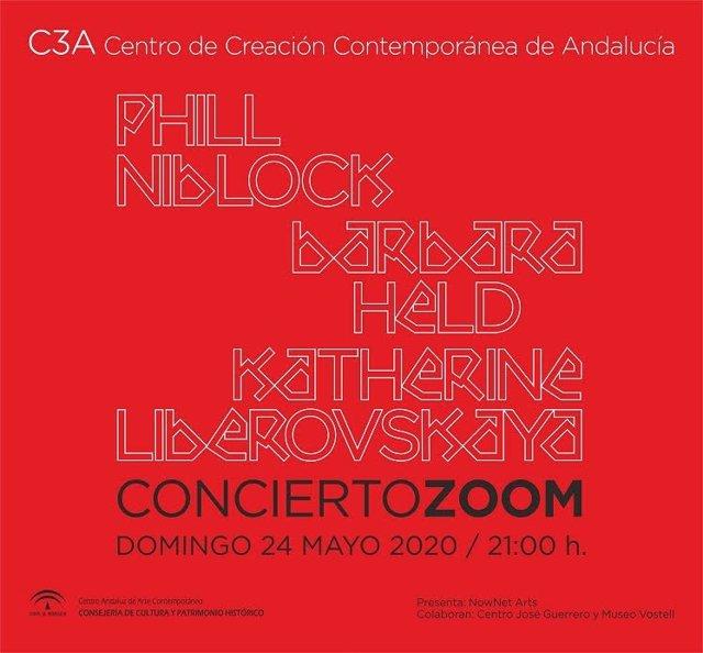 Cartel del concierto telemático de Phill Niblock, Barbara Held y Katherine Liberovskaya
