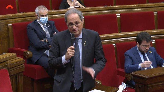 El presidente del Govern, Quim Torra, en el pleno del Parlament del 21 de mayo.