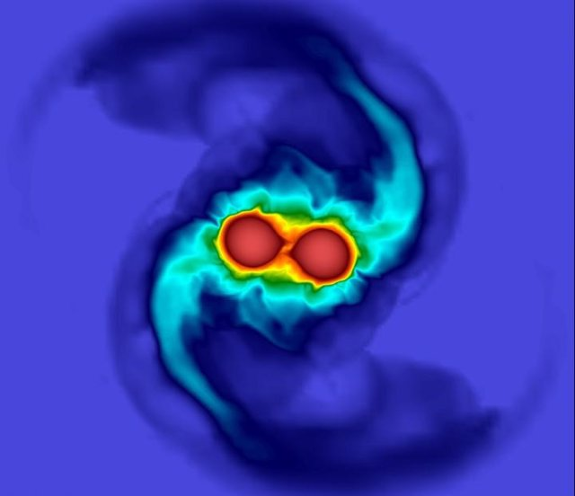 Los resultados de una simulación de la fusión de dos estrellas de neutrones similar al de un evento de onda gravitacional.