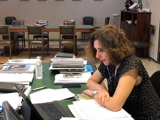 Olga García en una videoconferencia