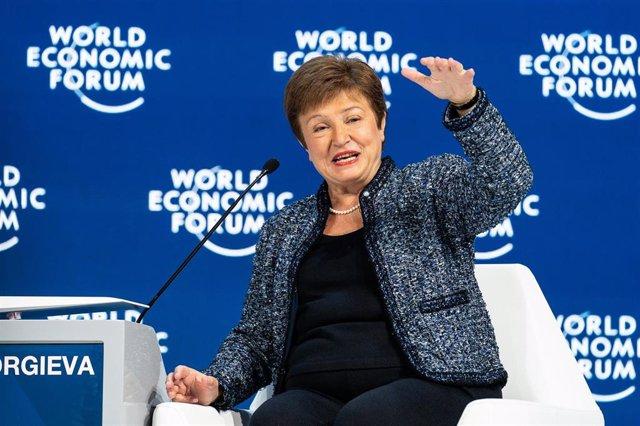 HANDOUT - 24 January 2020, Switzerland, Davos: Kristalina Georgieva, Managing Director of the International Monetary Fund (IMF), speaks during the Global Economic Outlook session at the 50th World Economic Forum annual meeting. Photo: Sikarin Fon Thanacha