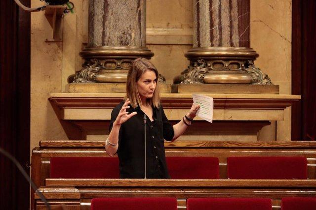 La líder dels comuns en el Parlament, Jessica Albiach, en el ple del Parlament del 21 de maig de 2020.