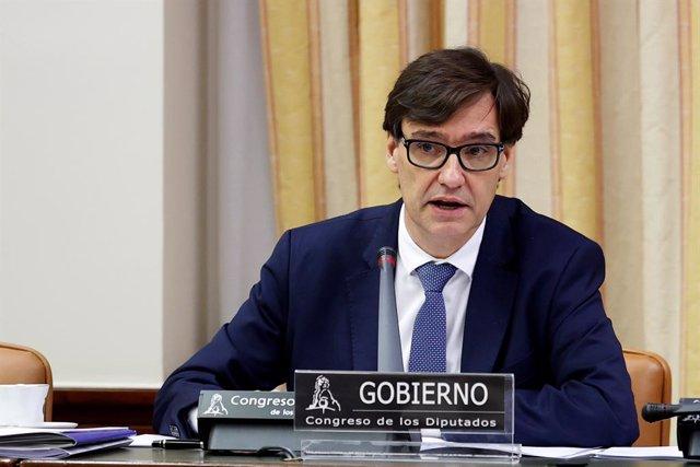 El ministre de Sanitat, Salvador Illa, durant la seva compareixença aquest dijous en la Comissió corresponent del Congrés, a Madrid (Espanya), a 14 de maig de 2020.