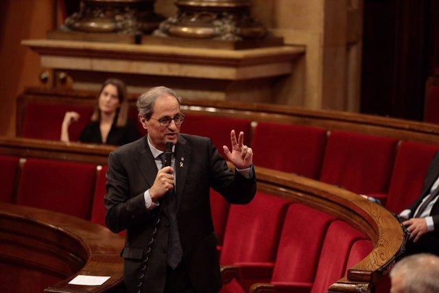 El president de la Generalitat, Quim Torra, en el ple del Parlament, el 21 de maig de 2020.
