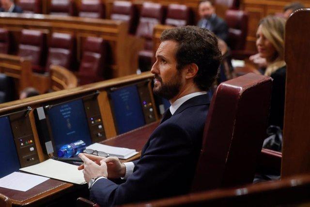 El líder del PP, Pablo Casado, durante una sesión de control al Ejecutivo celebrada en el Congreso. En Madrid (España), a 22 de abril de 2020.