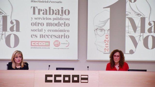 Las secretarias generales de CCOO-A y UGT-A, Nuria López y Carmen Castilla, respectivamente, en rueda de prensa, en una imagen de archivo.