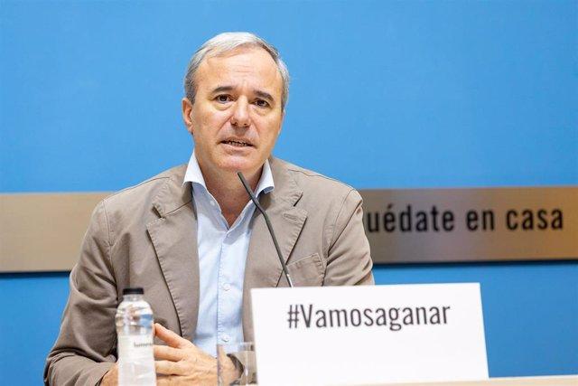 El alcalde de Zaragoza. Jorge Azcón, con el lema #Vamosaganar