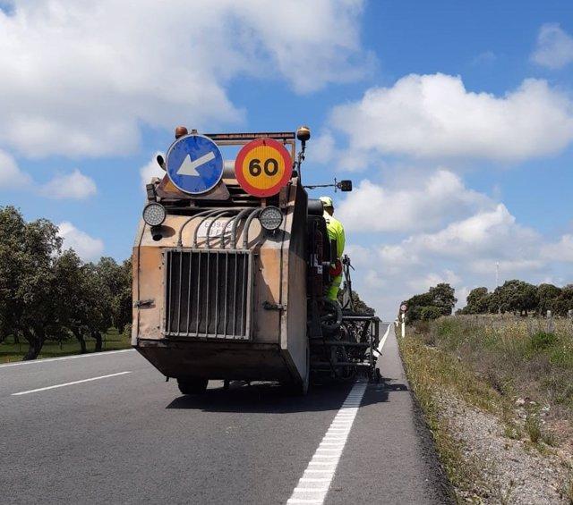 Obras en una carretera de Andalucía
