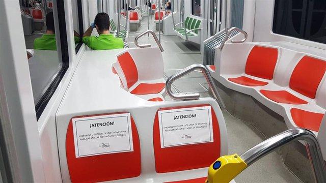 Aforo limitado en el metro de Sevilla