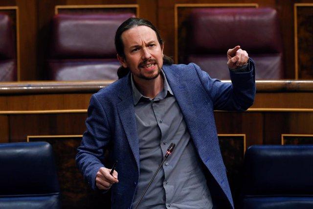 El vicepresidente segundo del Gobierno, Pablo Iglesias, interviene durante el pleno del Congreso que debate este miércoles la quinta prórroga del estado de alarma