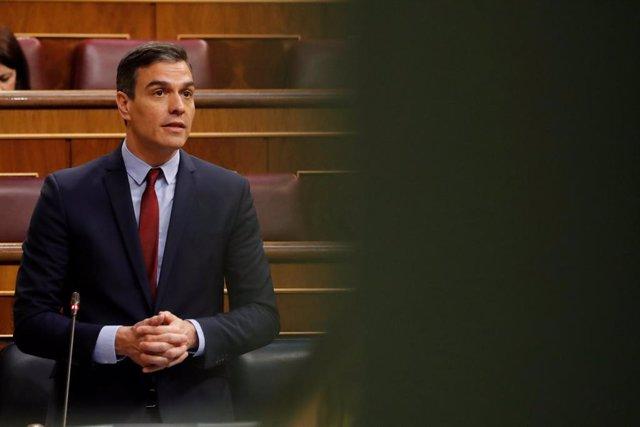 El presidente del Gobierno, Pedro Sánchez, durante su intervención en del debate, este miércoles en el Congreso, de la quinta prórroga del estado de alarma