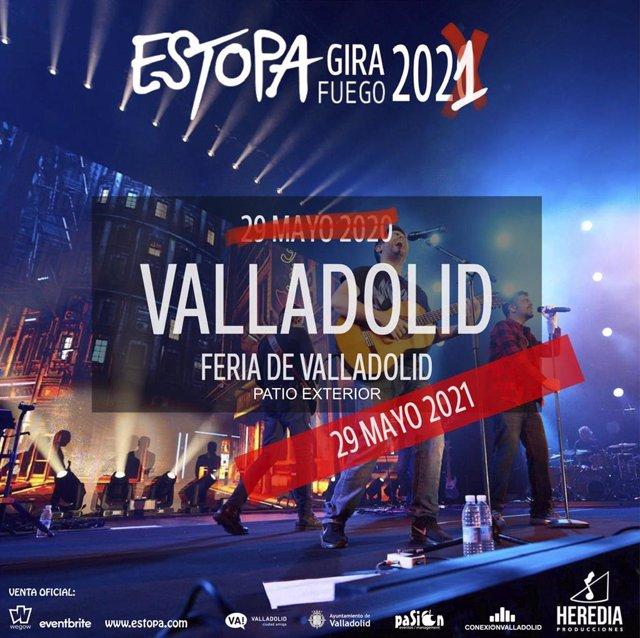 Cartel con la nueva fecha del concierto de Estopa en Valladolid.