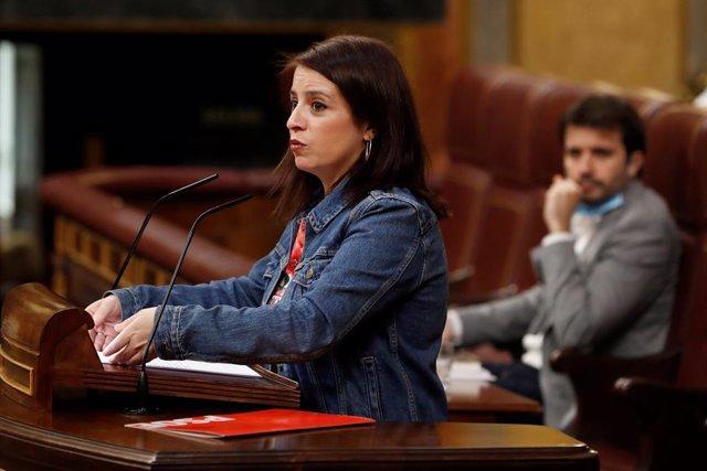 La portaveu del PSOE, Adriana Lastra, intervé en el del ple del Congrés que debat la cinquena pròrroga de l'estat d'alarma, Madrid (Espanya), 20 demaig del 2020.