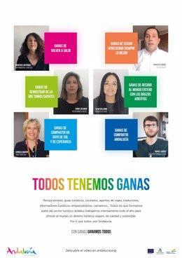 Campaña 'Todos tenemos ganas. Con ganas ganamos todos' de la Junta de Andalucía para animar la reactivación del sector turístico.