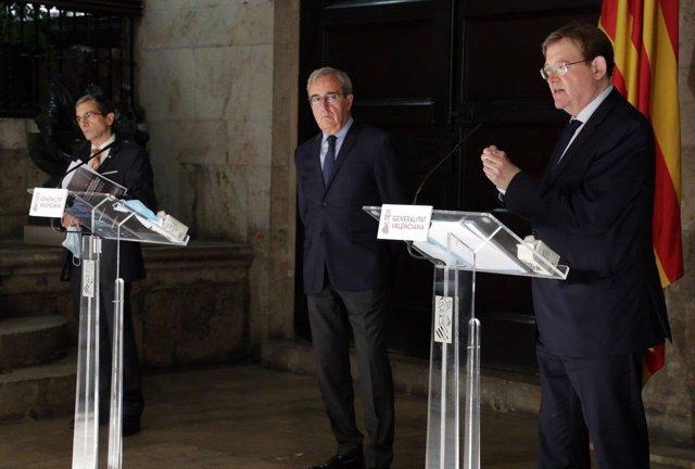 Ximo Puig, Francisco Pérez y Joquin Maudos durante la presentación de informe del Ivie para la reconstrucción de la economía de la Comunitat Valenciana