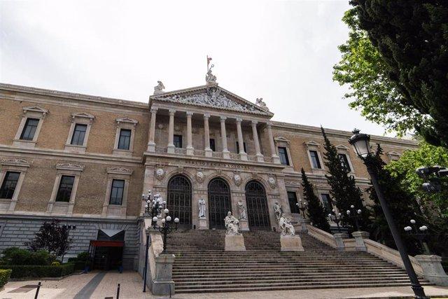 Fachada de la Biblioteca Nacional de España durante el día 54 del estado de alarma en Madrid. En Madrid, (España), a 7 de mayo de 2020.