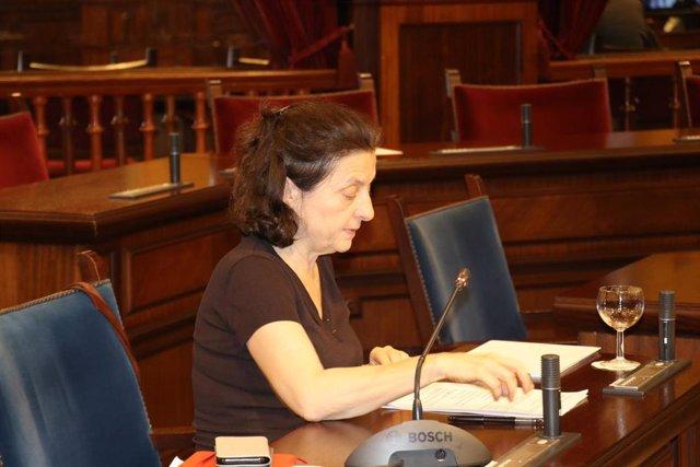 La consellera de Asuntos Sociales y Deportes, Fina Santiago, durante la comparecencia parlamentaria.