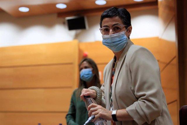 La ministra de Asuntos Exteriores, Unión Europea y Cooperación, Arancha González Laya, llega para comparecer ante la Comisión de Asuntos Exteriores del Senado, este jueves en Madrid (España), a 21 de mayo de 2020.