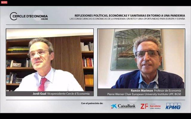 El vicepresidente del Círculo de Economía, Jordi Gual, y el profesor Ramon Marimon.