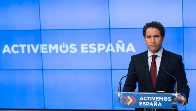 El secretario general del PP, Teodoro García Egea, ofrece una rueda de prensa por vía telemática en la sede nacional del PP. En Madrid, a 18 de mayo de 2020.