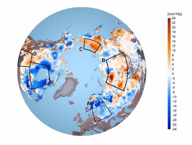 Cambios en la masa de nieve entre zonas del hemisferio norte