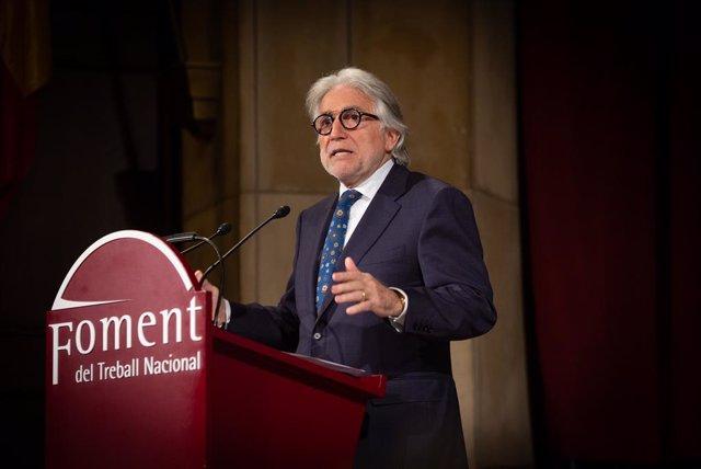 El president de Foment de Treball, Josep Sánchez Llibre, durant la seva intervenció en l'Assemblea General de la patronal catalana, a Barcelona/Catalunya a 13 de gener de 2020.