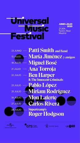 Cartel del Universal Music Festival 2020