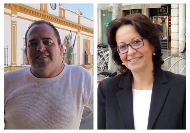 José Antonio Gelo, alcalde de Albaida, e Inés Mazuela, secretaria general de UPTA Andalucía, firman un convenio de colaboración para apoyar a autónomos.