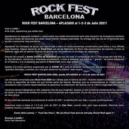 Aplazado a 2021 el Rock Fest de Santa Coloma de Gramenet (Barcelona)