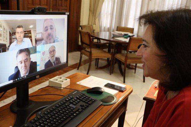 La delegada del Gobierno de España en Andalucía, Sandra García, en una reunión virtual con Mercasa