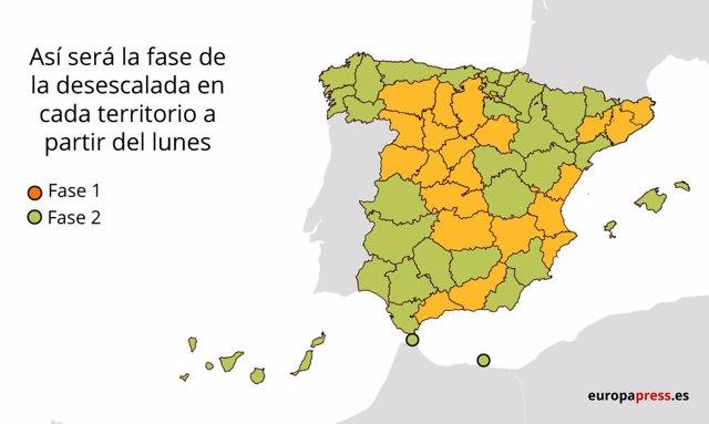 Mapa con las provincias que pasan de fase el lunes