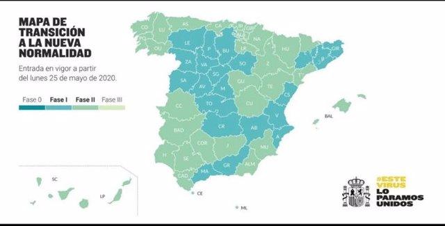 Mapa de provincias que cambian de Fase en la Desescalada