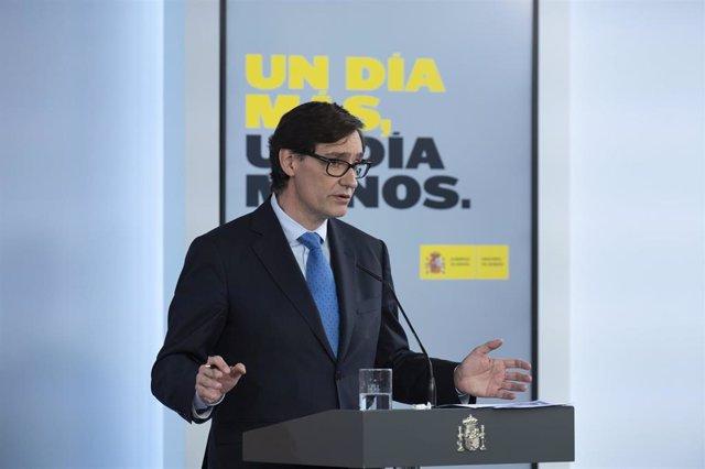 El ministro de Sanidad, Salvador Illa, durante la rueda de prensa posterior al Consejo de Ministros celebrado en Moncloa el día 66 del estado de alarma. En Madrid (España), a 19 de mayo de 2020.