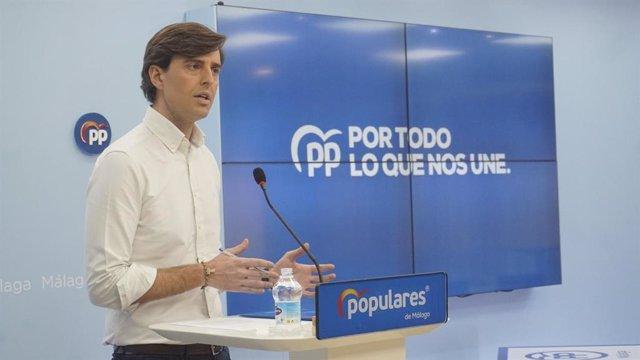 El vicesecretario de Comunicación del PP, Pablo Montesinos, en rueda de prensa en Málaga en una foto de archivo