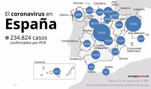 El coronavirus en España el 22 de mayo