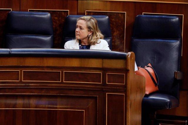 La ministra de Economía, Nadia Calviño, durante el pleno del Congreso del 20 de mayo de 2020.