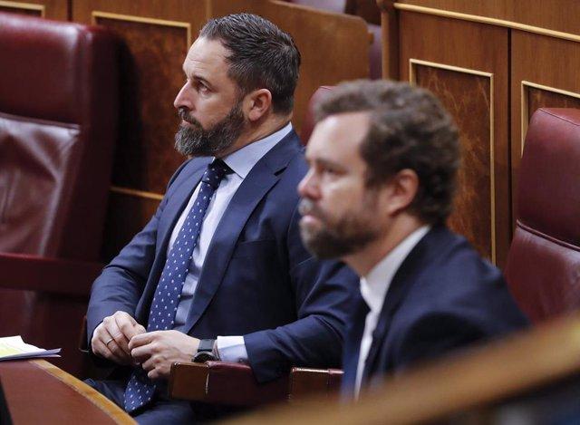 El líder de Vox, Santiago Abascal y el portavoz en el Congreso, Iván Espinosa de los Monteros