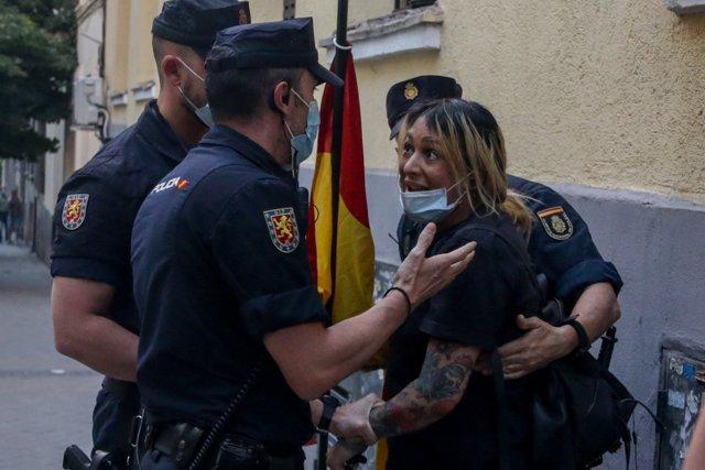 La líder de Hogar Social, en las protestas en Ferraz, a 23 de mayo de 2020