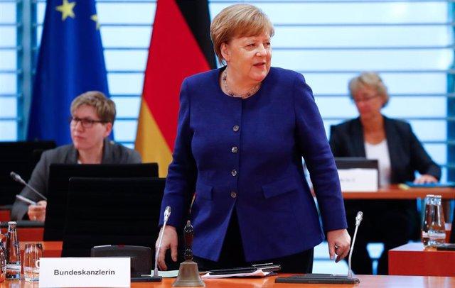 Angela Merkel en una reunión del Gobierno alemán