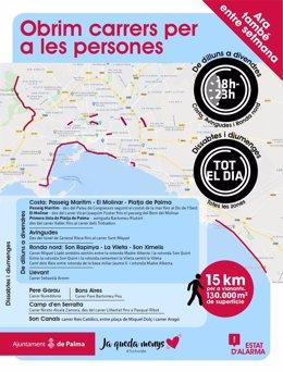 Mapa de las calles abiertas para peatones en Palma durante el estado de alarma.