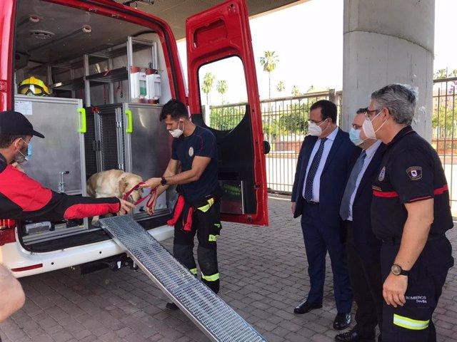 Incorporación de un nuevo vehículo a la Unidad Canina de Rescate del Cuerpo de Bomberos de Sevilla.