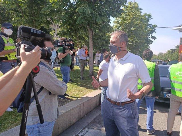 El secretario general de Vox, Javier Ortega Smith, en la manifestación convocada en Madrid