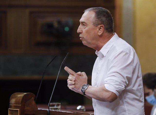 El diputado de Compromís Joan Baldoví, durante su intervención en el del pleno del Congreso